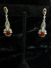 New Old Stock Sterling Silver Marcasites And Carnelian Stone Dangle Earrings