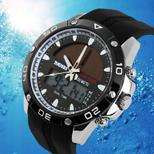 Skmei Dual-movt Waterproof Silver 1064 Solar Power Army LED Watch Date Day Alarm
