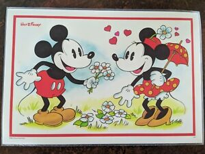 Vintage Laminated Walt Disney Mickey & Minnie Mouse Placemat Two Sided