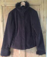 Brown Principles Ladies Jacket/Size 12/Casual/Fur Trim/ Zip Up Front/Classic