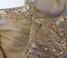Silk vintage beaded strappy gold cocktail dress S sequins chiffon satin zip