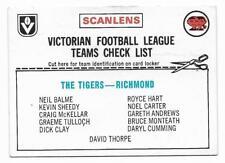 1976 Scanlens Checklist Richmond Tigers ::