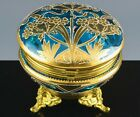 STUNNING c1890 ART NOUVEAU ELECTRIC BLUE GOLD ENAMEL GILT METAL JEWELRY RING BOX