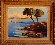 Peinture sur panneau 1950 mer méditerranée Provence Naples signature?