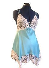 Victoria's Secret M Satin Chemise Slip Blue White Lace Lined Floral Lace Gown