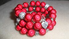 Miracle and disco bead memory wire wrap bracelet red