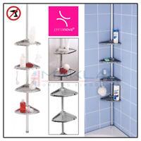 4 TIER SILVER TELESCOPIC Adjustable Bathroom CORNER SHOWER Shelf Rack Organiser