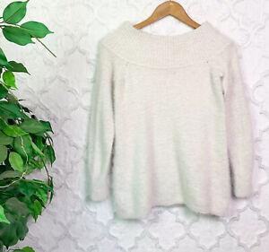 LOFT Cream White Eyelash Knit Fuzzy Sweater Size PS