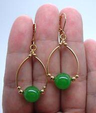 Hoop Earrings - Leverbacks ! A0901 Lovely Smooth Emerald Green Jade Gold