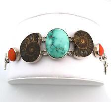 Sterling Silver Vintage Ammonite Turquoise Bracelet