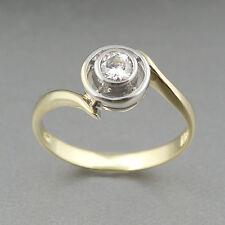 Ring Zirkonia 585/14k Weiß-Gelbgold