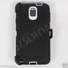 For Samsung Galaxy Note 3 Black/White Case (Belt Clip Fits Otterbox Defender)