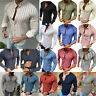 Men Casual Slim Fit Muscle Shirts Striped Long Sleeve T-shirt Top Stylish Blouse