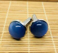 Men's Gift  Burmese Vintage Blue Agate Cufflinks (JC20)