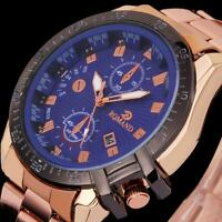 NEW Sale Mens Big Dial Gold Stainless Steel Date Quartz Analog Sport Wrist Watch