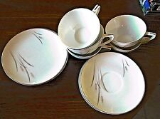 Vintage Max Schonfeld Japan Platinum Wheat Fine China Cups Saucers Cake Plates