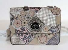 New COACH Bowery Patchwork Snake Crossbody turnlock closure bag silver floral