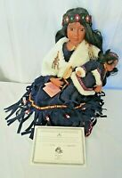 "TRADITIONS Native American Indian Seated Doll WINTER SKY w/ Baby 20"" Ltd Ed #287"