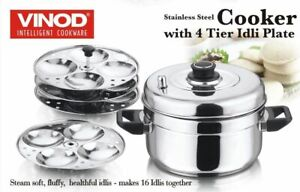 Vinod Stainless Steel Idli Cooker 4 Tiers Stand Idli Maker Plates Cooking New UK