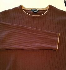 NWD Kenneth Cole 100% Cotton Brown Crew Neck Rib Knit Year-Round Sweater XL  ANB