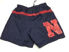 VTG Nike Swim Trunks Swoosh Spell Out Logo Small Red Blue Tag rare 90's Shorts