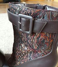 Anne Michelle Paisley Shimmer High Heel Side Buckle Zip Ankle Boot Size 8.5