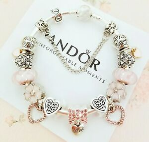 New Snake Chain Charm Bracelet with Love Heart European Charms Size 7.5""