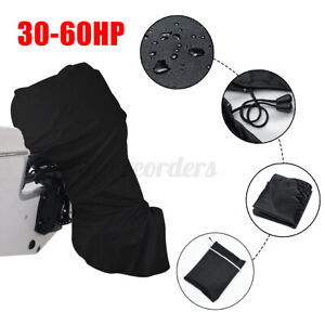 420D Boat Full Outboard Engine Cover For 30-60HP Motor Waterproof Black `.