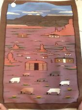 "Wonderful Navajo 30"" X 41"" Artist Woven Pictorial Rug/Wall Hanging ""MANY FARMS"""