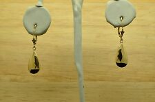14K YELLOW GOLD DANGLING HAMMERED HOLLOW TEARDROP LEVERBACK EARRINGS #X14-1455