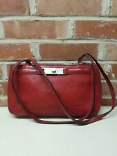 FOSSIL Red Leather Shopper Tote Sho