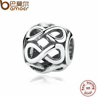 Bamoer Retro S925 Sterling Silver Charms Hollow Ball Infinete Fitting Bracelets