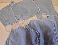 Vintage BLUE Embroidered Dressing Table Set of 6 Mats.