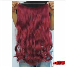 "BURGUNDY RED #118C FLIP IN/halo style WIRE HAIR EXTENSIONS 20"" PRINCESS TRESSES"
