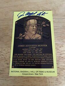 """Jim """"Catfish"""" Hunter Signed Hall Of Fame Plaque Postcard HOF Yankees"""