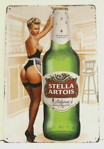 Stella Artois Beer Tin Metal Pinup Girl Poster Sign Bar Man Cave Vintage Style