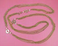 """Vintage Park Lane Multi Chain Gold Tone Necklace Faux Pearl 62"""""""