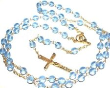"Blue Rosary Necklace Glass Beads Gold Cross 31"" long"