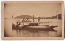 SUPER Albumen Photo - Steamboat on Lake - Grace E Willey 1870 Concord NH? Boat