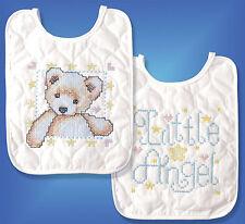 Cross Stitch Kit ~ Design Works / Tobin Angel with Bear Baby Bib Set # T21708