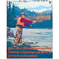 """give A Man A Fish"" Retro Metal Sign - Vintage Large Novelty Plaque Signs Mum"