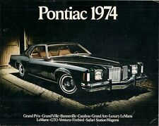 Pontiac 1974 Stati Uniti Mercato Opuscolo VENTURA Lemans Firebird Grand VILLE GRAND PRIX