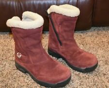 WOMENS 6.5 SOREL WATERFALL WATERPROOF RED SUEDE LEATHER INSULATED BOOTS