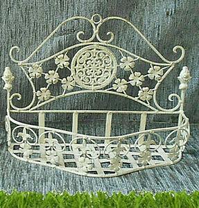 Wandkorb aus Schmiedeeisen zum Bepflanzen Aufbewahrung Deko antikweiß (wk)