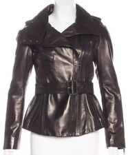 Burberry Prorsum Leather Black Belted Jacket XS US 2 IT 38