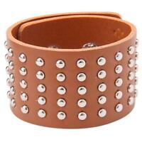 Fashion Leather Wide Bracelet Wristband Gothic Punk Rock Spike Stud Rivet JAZZ