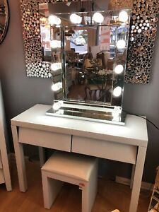 2xDrawers White Glass Dressing Table Bedroom Console Vanity Make-up Desk UK