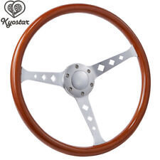 380mm Wooden Grain Silver Brushed Spoke Steering Wheel Horn classic 15 Inch New