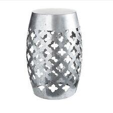 Galvanized Silver Metal Garden Stool: Laser-Cut Quatrefoil, 18.5 inches
