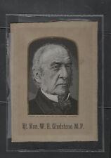 GLADSTONE stevengraph woven silk w/ mat original advertising 19th C.